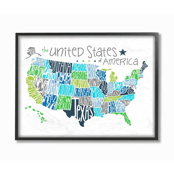 Shop Stupell Industries United States Map Color Typography Framed ...