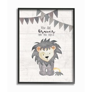 Stupell Industries You Are Braver Lion Framed Giclee Wall Art