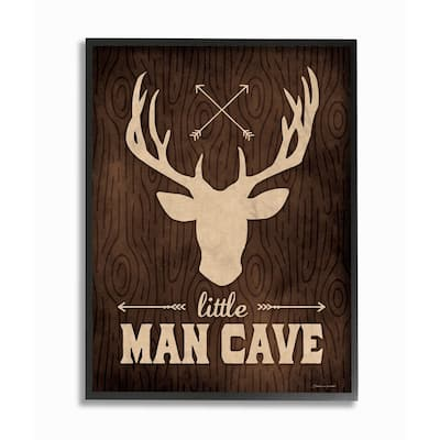 Stupell Industries Little Man Cave Moose Framed Giclee Wall Art