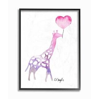 Stupell Industries Watercolor Balloon Giraffe Framed Giclee Wall Art