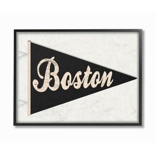 Stupell Industries Boston Pennant Black Framed Giclee Wall Art