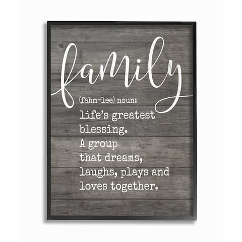 Stupell Industries Family Definition Planked Framed Giclee Wall Art