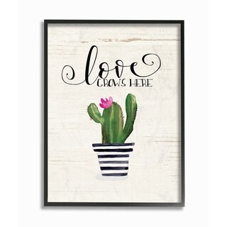 Stupell Industries Love Grows Here Cactus Framed Giclee Wall Art