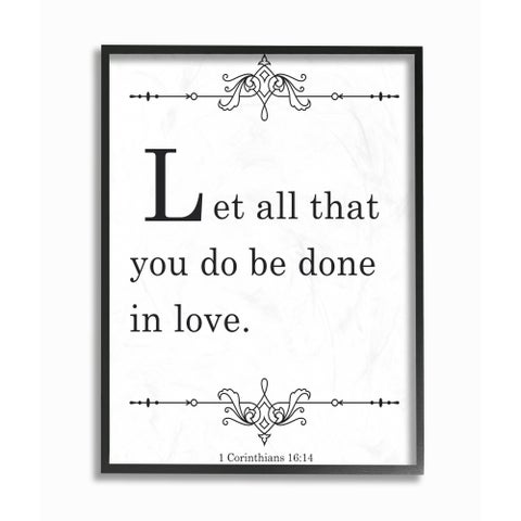 Stupell Industries Let All Be Done In Love Framed Giclee Wall Art