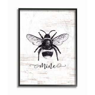 Stupell Industries Bee Mine Drawing On Wood Framed Giclee Wall Art