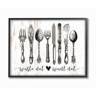 Stupell Industries Waste Not Want Not Silverware Framed Wall Art