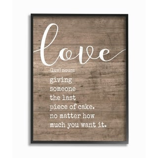 Stupell Industries Love Definition Planked Framed Giclee Wall Art