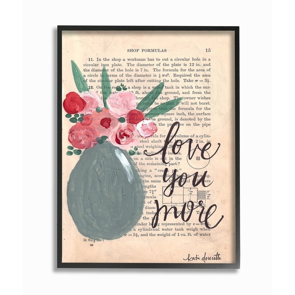 Stupell Industries Love You More Painterly Book Page Framed Wall Art ...