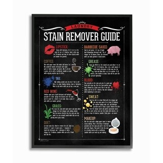 Stupell Industries Laundry Stain Remover Guide Framed Giclee Wall Art