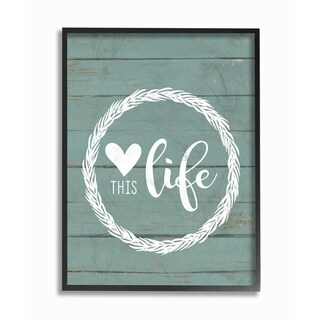 Stupell Industries Love This Life Wreath Planked Framed Wall Art (2 options available)