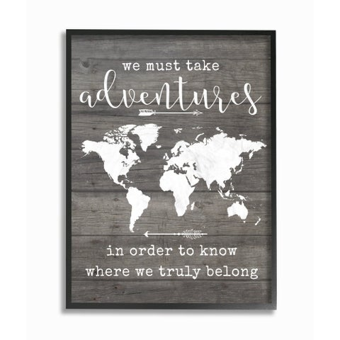 Stupell Industries Take Adventures Map Framed Giclee Wall Art