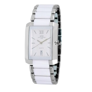 Oniss Womens Rectangular Stainless Steel & Ceramic Watch-Silver tone/White