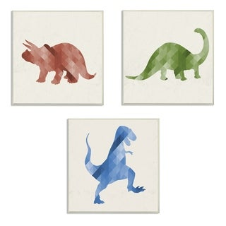 Stupell Industries Red Green Blue Dinosaurs 3 Pc. Wall Art Set - wood plaque - 12 x 12
