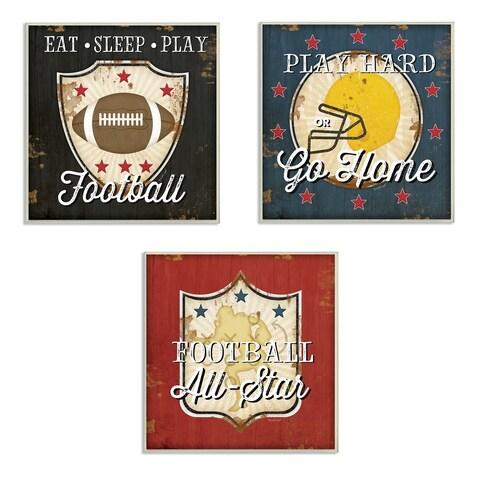 Stupell Industries Football All-Star 3 Pc. Wall Art Set - wood plaque - 12 x 12