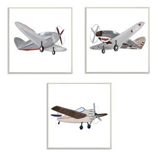 Stupell Industries Triple Airplanes 3 Pc. Wall Art Set - wood plaque - 12 x 12