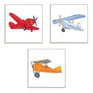 Stupell Industries Triple Colorful Airplanes 3 Pc. Wall Art Set - wood plaque - 12 x 12