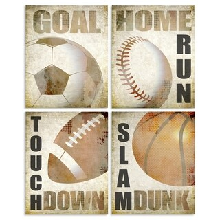 Stupell Industries Sports Balls With Game 4 Pc. Wall Art Set - wood plaque - 10 x 15