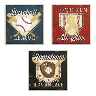 Stupell Industries Baseball All-Star 3 Pc. Wall Art Set - wood plaque - 12 x 12
