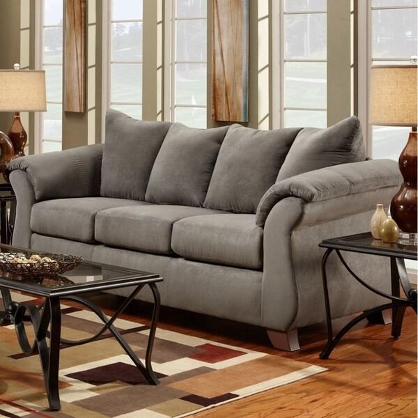 Shop Aruca Sensations Grey Microfiber Pillow Back Sofa