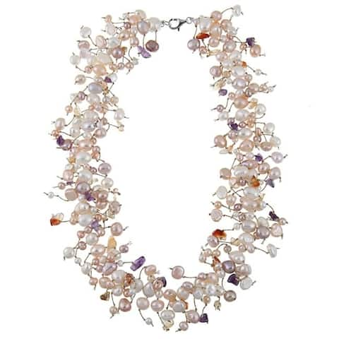 """DaVonna 5 mm Multi Color Freshwater Pearl and Gemstone Necklace 18"""""""