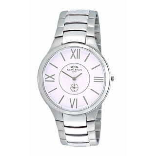 Oniss Mens Swiss All Stainless Steel Watch-Silver tone/White dial