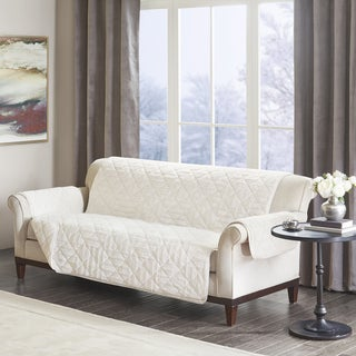Madison Park Polar Checkboard Long Faux Fur Sofa Protector