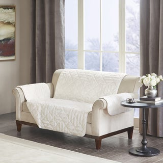 Madison Park Polar Checkboard Long Faux Fur Loveseat Protector (2 options available)