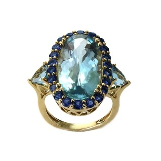 Auriya 14k Yellow Gold 3-Stone Vintage 6ct TW Blue Topaz and 1.10ct TW Lolite Halo Engagement Ring