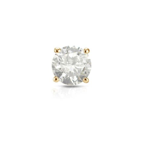 Auriya 3/4ctw Clarity-enhanced SINGLE STUD (1) Diamond Earring 18k Yellow Gold