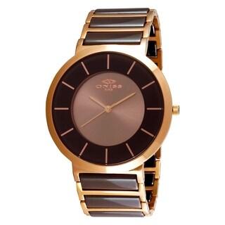 Oniss Mens Swiss Slim Design Stainless Steel & Ceramic Watch-Rose tone/Brown