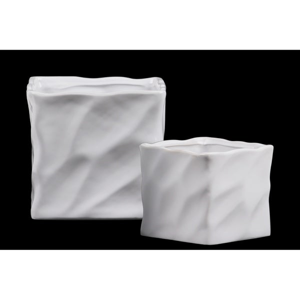 UTC55405: Ceramic Square Pot with Embossed Wave Design Body and Lips Set of Two SM Matte Finish White