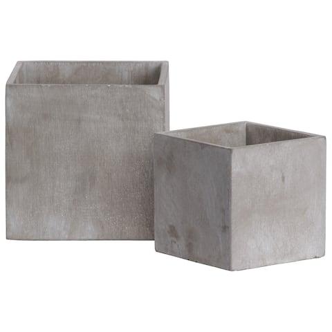 UTC54114: Cement Square Pot Set of Two Concrete Finish Gray