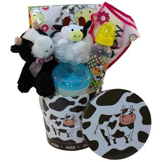 Its Mooo Time! Newborn Baby Cow Theme Infant Gift Basket, Neutral Gender Boy or Girl