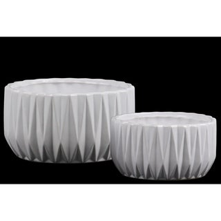 UTC55401: Ceramic Low Round Pot with Embossed Diamond Design Body, Patterned Lips and Tapered Bottom S/2 Matte Finish White