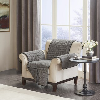 Madison Park Polar Checkboard Long Faux Fur Chair Protector