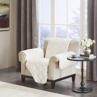 Madison Park Polar Checkboard Long Faux Fur Chair Protector