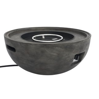 Armen Living Castaic Outdoor Patio Fire Pit in Brown with Concrete Texture Finish