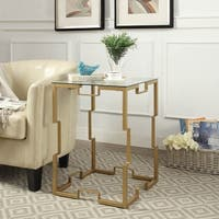 "Edenton 18"" Square Gold Glass Top Table"