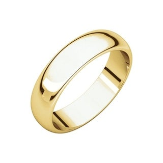 Curata 10k Yellow Gold Unisex 5 mm Half-Round Light Wedding Band (sizes 4-14)