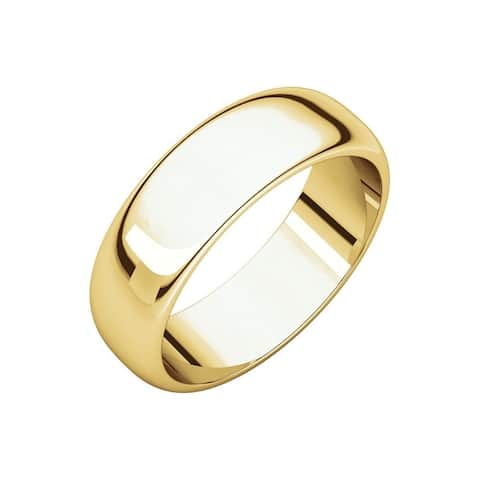 Curata 10k Yellow Gold Unisex 6 mm Half-Round Light Wedding Band (sizes 4-14)