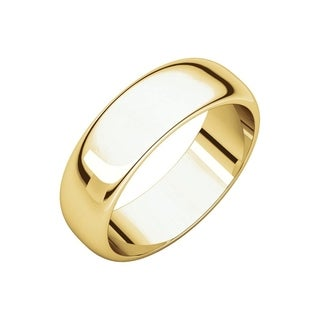 Curata 10k Yellow Gold Unisex 6 mm Half-Round Light Wedding Band (sizes 4-14)