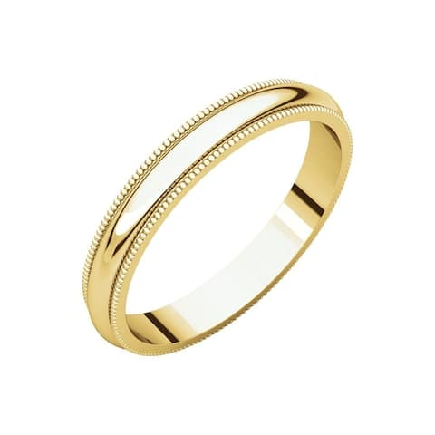Curata 10k Yellow Gold Unisex 3 mm Milgran Half-Round Light Wedding Band (sizes 4-14)