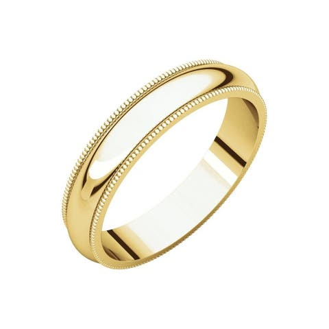 Curata 10k Yellow Gold Unisex 4 mm Milgrain Half-Round Light Wedding Band (sizes 4-14)