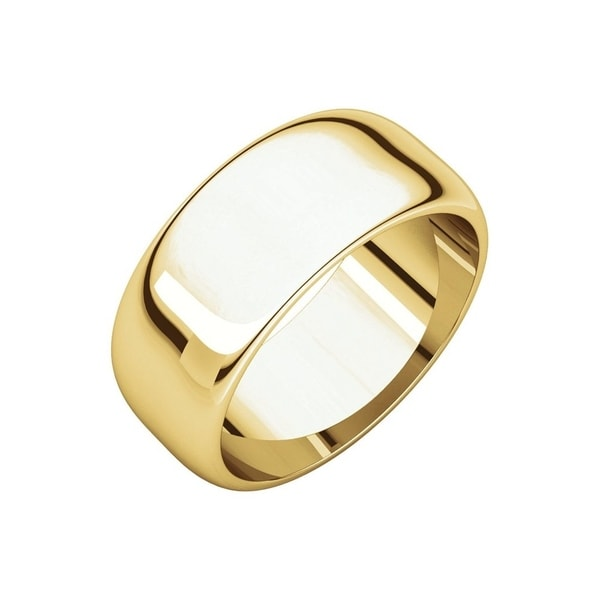14K Yellow Gold mens and womens plain wedding bands 6mm light half round