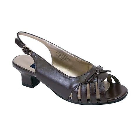 PEERAGE Celeste Women Extra Wide Width Cute Slingback Sandal with Bow