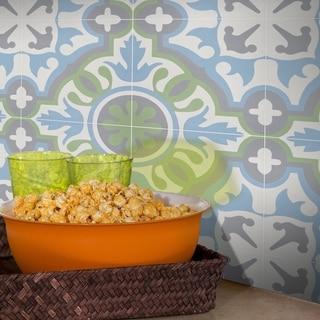 Handmade Baha in Blue, Green, Dark Grey Tile, Pack of 12 (Morocco)