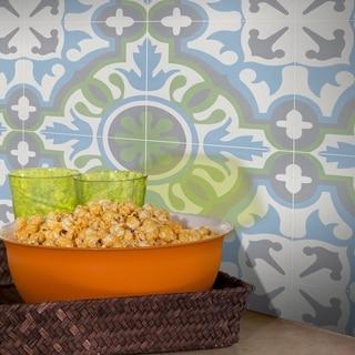 "Handmade Baha Blue Tile, Pack of 12 - 8"" x 8"" (Morocco)"