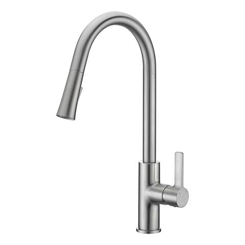 ANZZI Serena Single Handle Pull-Down Sprayer Kitchen Faucet in Brushed Nickel - Brushed nickel