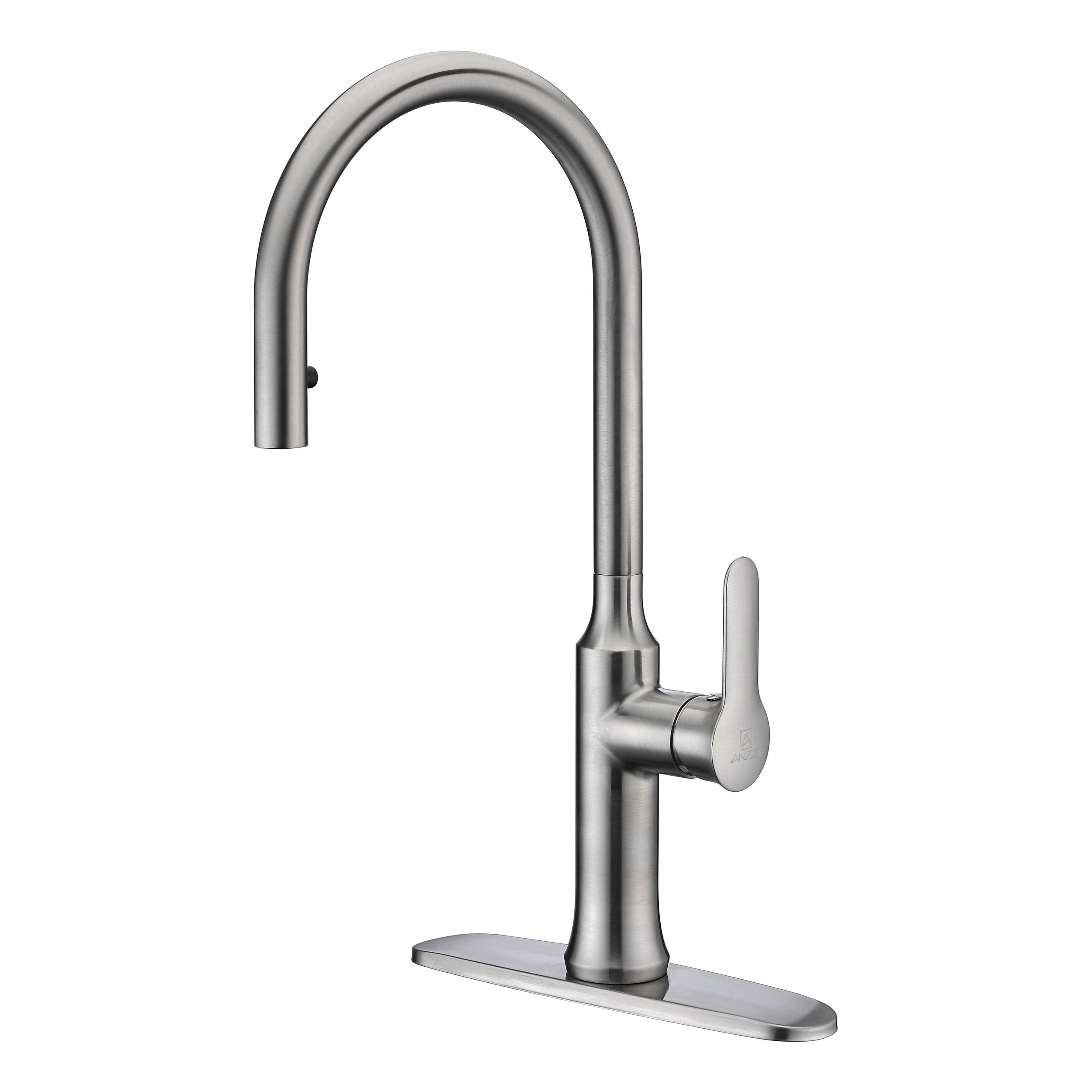 ANZZI Cresent Single Handle Pull-Down Sprayer Kitchen Faucet in Brushed  Nickel - Brushed nickel
