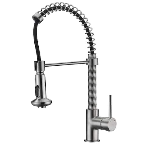 ANZZI Step Single Handle Pull-Down Sprayer Kitchen Faucet in Brushed Nickel - Brushed nickel